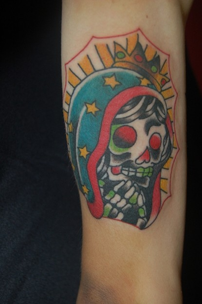 グアダルーペ?メキシカンスカルのタトゥー Guadalupe Mexican Skull Tattoo