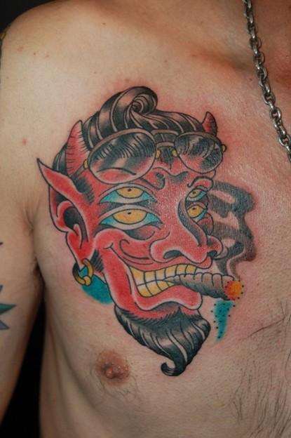 四つ目のデビルのタトゥー four eyes devil tattoo