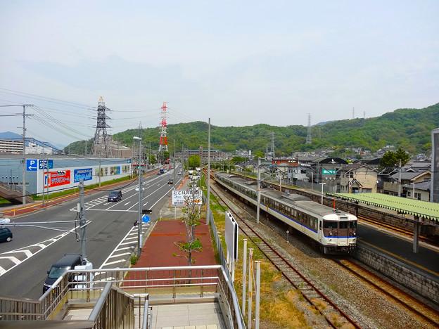 JR坂駅 北口 跨線橋から呉線下り方向 国道31号 安芸郡坂町平成ヶ浜