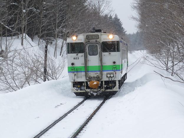 キハ40。雪景色の中を走る、定番すぎる画。@札沼線豊ヶ岡駅