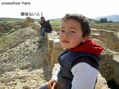 遺跡と子供