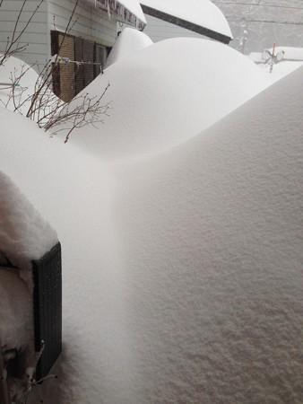 大雪の朝玄関先
