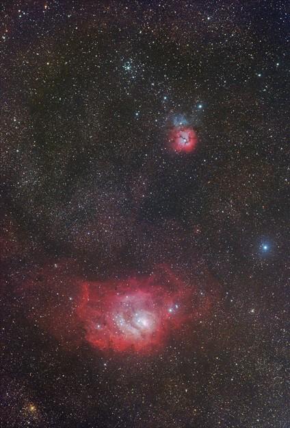 光害地で撮るリーズNo.14 - 三裂星雲・干潟星雲
