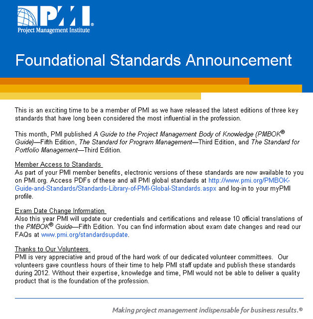 Foundational Standards Announcement