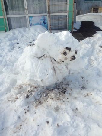 翌日のチェブラーシカ雪だるま。照れながらおじぎしてるんでしょう、きっと。かわいい(*^^*)