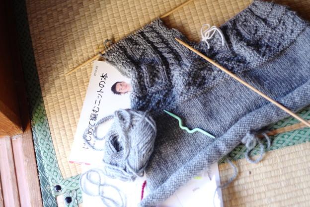 写真: セーター前身ごろ編み中