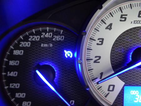 86・BRZ 純正クルーズコントロール取付後 メーター内クルーズコントロール表示 青LED打ち替え