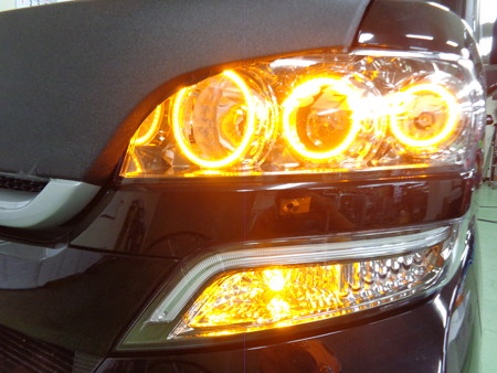 N-BOX 岐阜県 イカリング取付 ウインカー2色LEDオレンジ
