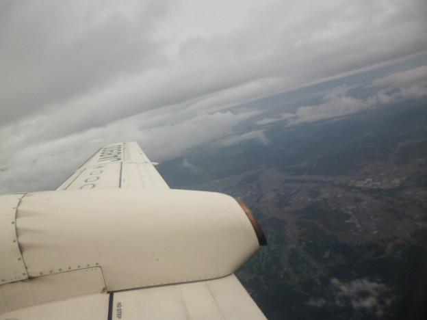 プロペラ機から見た眺望