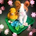 編みぐるみ ニャンコとインコ