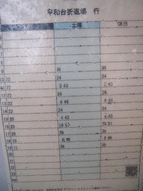 バス停~平和台折返場行き時刻表