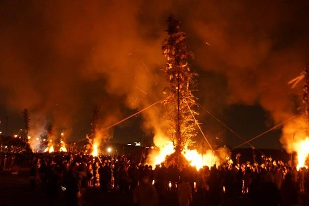 左義長火祭り開始!140112