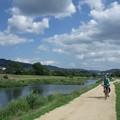 鴨川沿いをサイクリング