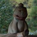 野川弁財天の木彫り狛犬-阿形