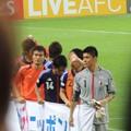 Photos: 頭と頭の間から日本代表御一行様。上手く撮れへん(´~`)(ヨルダン戦6.8)