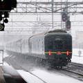 Photos: 009 白石駅を通過するトワイライトエクスプレス展望スイート(雪中)