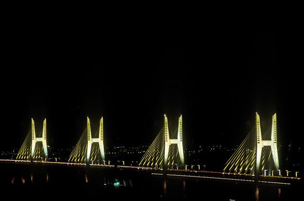 1988年11月 瀬戸大橋 斜張橋 イルミネーション