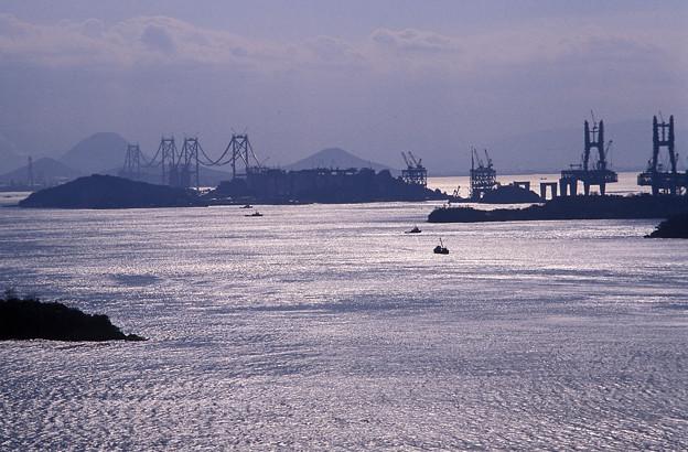 1986年頃 建設中の瀬戸大橋(エクタクローム)