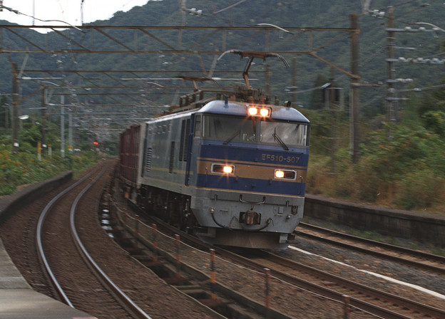 【ネガ】新疋田駅 EF510(青)通過