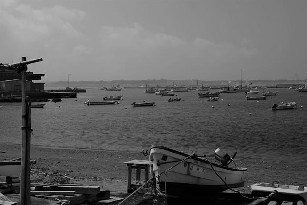 夏の漁港(モノクロ)