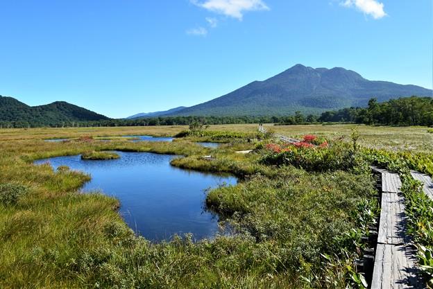 池塘と燧ヶ岳