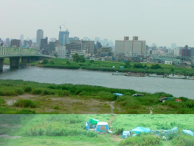 Photos: 東北自動車道 句 ススキ 青テント 0819 006