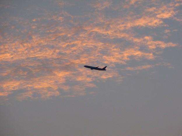 「夕焼け雲と機影」 です・・・・