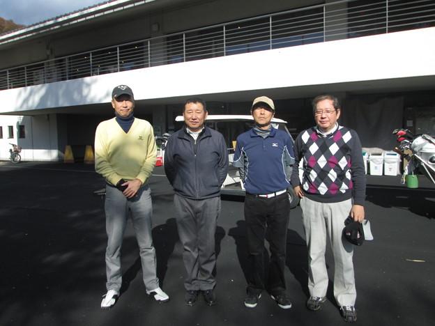 足利城ゴルフ倶楽部忘年コンペに参加した、幹事・松さん・親さん・澁さん2013.12.12
