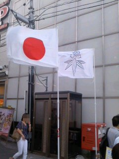 写真: 国旗と鎌倉市旗。