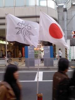 笹竜胆と日章旗。