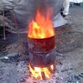 焚き火(12月22日、もちつき大会)