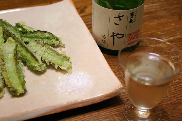 IMGP9554東広島市、福久長吟醸さやと四角豆のてんぷら
