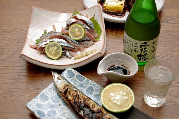 IMGP9600東広島市、純米酒西條鶴大地の風と秋刀魚3点