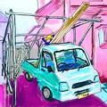 写真: 軽トラ車庫作り