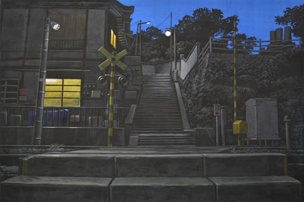 写真: 踏切夜景