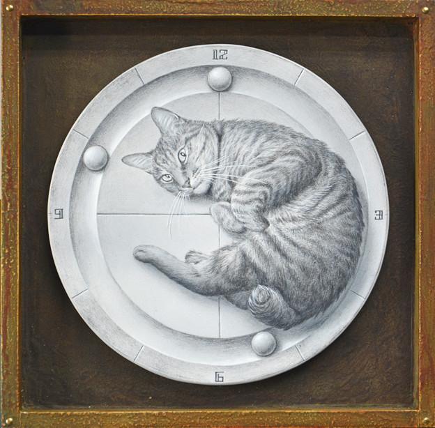 写真: 時計になった猫