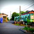 Photos: 打越駅に停車する青ガエル。