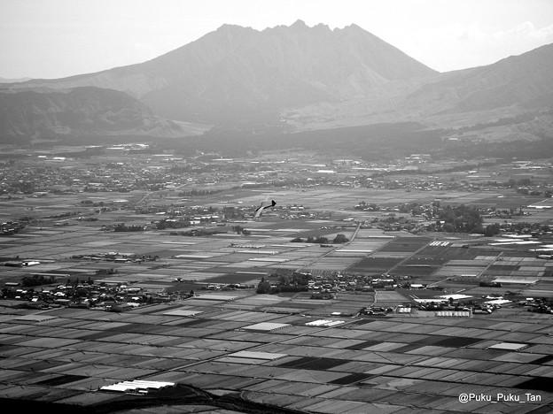 大観峰から根子岳を望む。