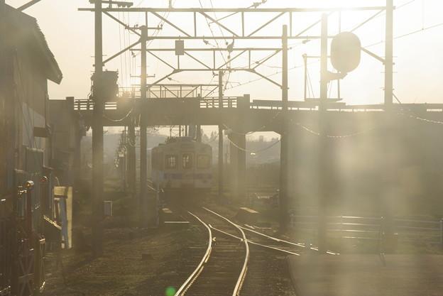 列車交換後。右側通行で交換するのね