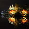 霞ヶ池 ライトアップ 蓬莱島と唐崎の松