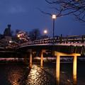 雪の浅野川 中の橋 ライトアップ