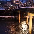 浅野川 中の橋 街灯と雪(2)