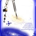 ∵くるくるくるりん渦巻き銀河のキーホルダー ブルーサンドストーン(紫金石)ハンドメイド 手作り ワイヤーワーク(ワイヤーアート)グルグルうずまきキーホルダー4