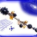 ∵くるくるくるりん渦巻き銀河のストラップ ブルーサンドストーン(紫金石) 手作り ハンドメイド ワイヤーワーク(ワイヤーアート)グルグルうずまきストラップ2