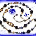 ?くるくる超渦巻き銀河のロングネックレス ブルーサンドストーン(紫金石)&ソーダライト ハンドメイド手作りワイヤーワーク(ワイヤーアート)グルグル・ギャラクシー首飾り1