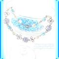 ?爽やか浜風のくるくるブレスレット?淡いブルーのアクリルビーズ&樹脂パールビーズ 手作り ハンドメイド ワイヤーワーク(ワイヤーアート)グルグル渦巻き腕輪4