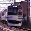 鎌倉の裏手の踏切で。。横須賀線E217