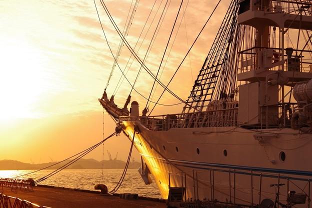 Photos: 夕日に赤らめて。。海王丸