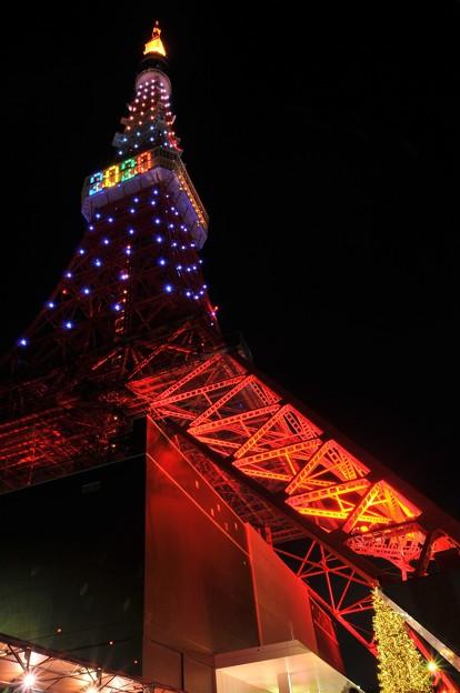 下から見上げる東京タワー オリンピック決定記念ライトアップ・・20131222