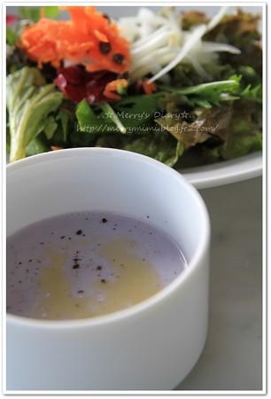 紫芋の冷静スープ&サラダ
